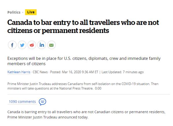 突发!特鲁多宣布,全面关闭加拿大国境, 只有这些人可以进