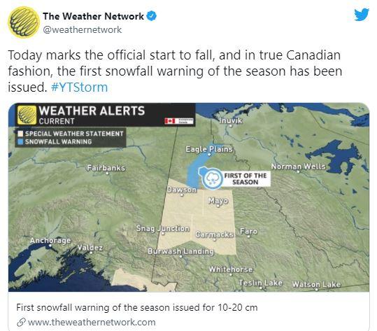 入秋第一天,加拿大气象局发20㎝降雪警告